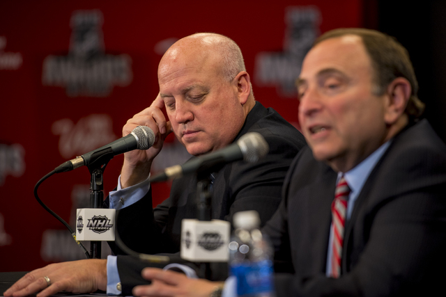 NHL Deputy Commissioner Bill Daly, left, and Commissioner Gary Bettman addresses media during a news conference June 24, 2015, at the MGM Grand Garden in Las Vegas. (Joshua Dahl/Las Vegas Review-J ...
