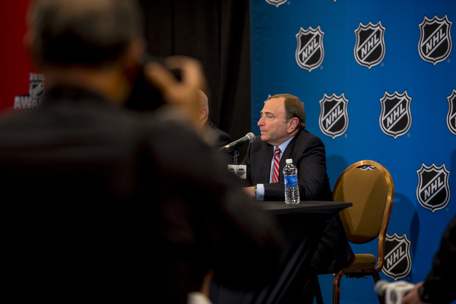 NHL Commissioner, Gary Bettman, addresses media during a news conference at the MGM Grand Garden Arena in Las Vegas on Wednesday, June 24, 2015. (Joshua Dahl/Las Vegas Review-Journal)