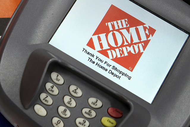A closeup of an electronic payment station is shown at a Home Depot store in Daly City, California. (Beck Diefenbach/Reuters/Files)