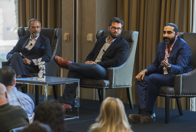 Director of Hospitality Lab Robert Rippee, left, General Manager from Uber Desert Steve Thompson and Senior Vice President of Sales for Cvent Bharet Malhotra speaks during an educational panel eve ...