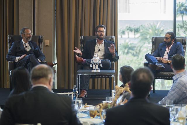 Director of Hospitality Lab Robert Rippee, left, General Manager from Uber Desert Steve Thompson and Senior Vice President of Sales for Cvent Bharet Malhotra speaks during an educational panel eve ...