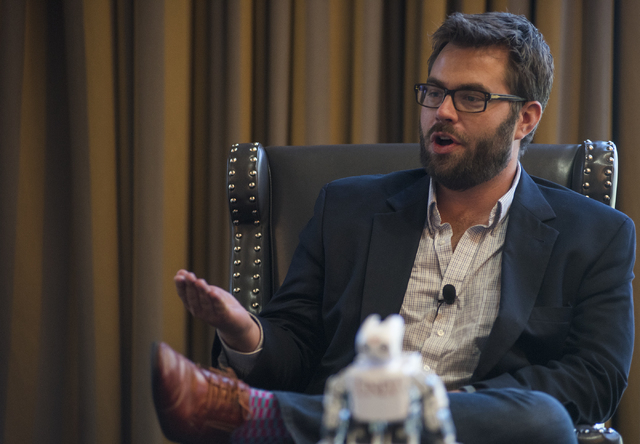 General Manager from Uber Desert Steve Thompson speaks during an educational panel event discussing technology trends in hospitality from the MGM Grand conference center in Las Vegas on Thursday,  ...