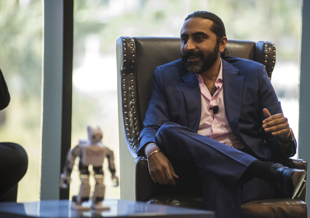 Senior Vice President of Sales for Cvent Bharet Malhotra speaks during an educational panel event discussing technology trends in hospitality from the MGM Grand conference center in Las Vegas on T ...
