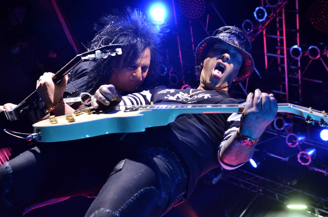 Steve Stevens, left, and Billy Morrison perform with Billy Idol at the House of Blues in the Mandalay Bay hotel-casino at 3950 Las Vegas Blvd. South on Wednesday, March 16, 2016. Bill Hughes/Las V ...