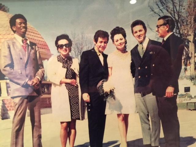 Musician Bobby Morris' 1968 wedding in Mexico City. From left: Judith Exner, Eddie Fisher, Diane Morris, Bobby Morris and Sam Giancana. (Courtesy)