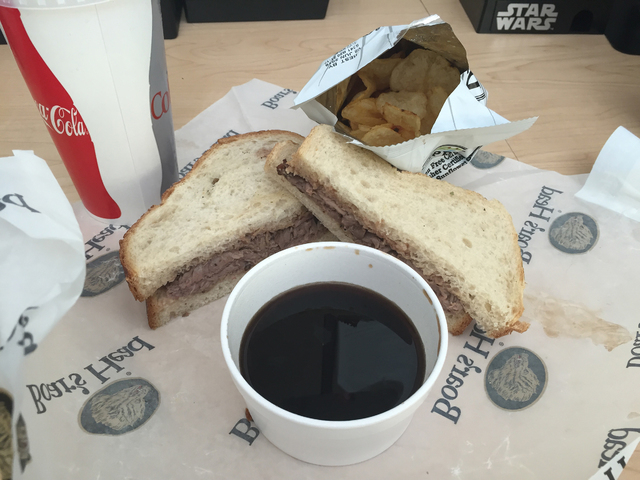 The French Dip at Woods Family Sandwiches has roast beef topped with melted Provolone and served with au jus. Caitlyn Belcher/Special to View