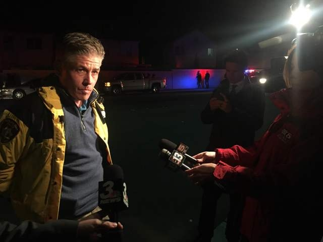 Metro homicide Lt. Dan McGrath speaks to reporters about a murder-suicide in a northwest valley home on the 4000 block of North Browndeer Circle on Monday, March 7, 2016.  (Rachel Crosby/Las Vegas ...