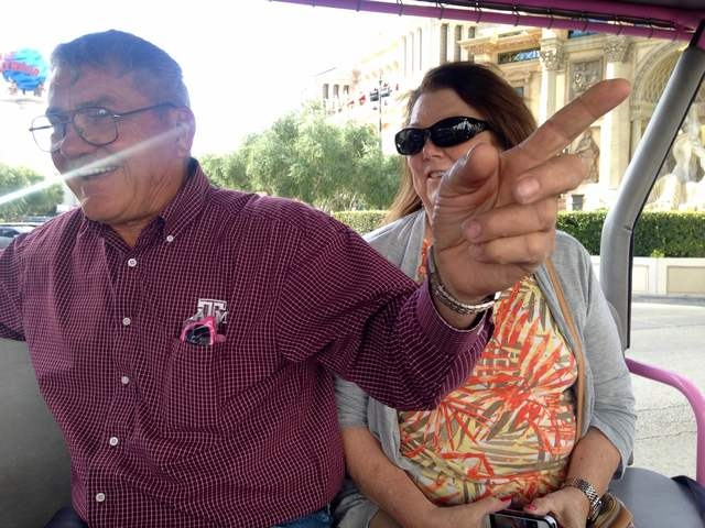 Gary and Peggy Hafernick share stories of properties on the Strip during a Pink Jeep tour on Wednesday, March 8, 2016. Kimberly De La Cruz/Las Vegas Review-Journal