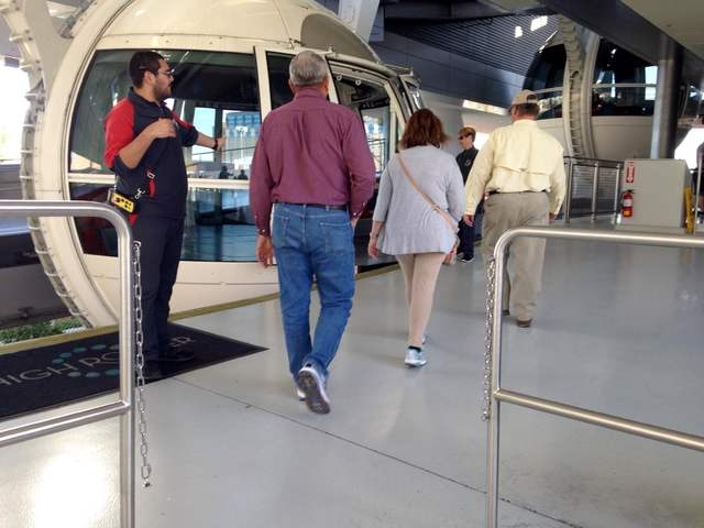 Pink Jeep tour guide Richard Evans walks with Gary and Peggy Hafernick onto a High Roller pod during a tour of the Strip on Wednesday, March 8, 2016. Kimberly De La Cruz/Las Vegas Review-Journal