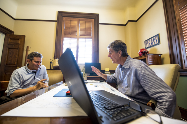 FoFo Gilich, right, mayor of Biloxi, Miss., is interviewed by Howard Stutz in his office at Biloxi City Hall on Wednesday, Aug. 12, 2015. (Joshua Dahl/Las Vegas Review-Journal)