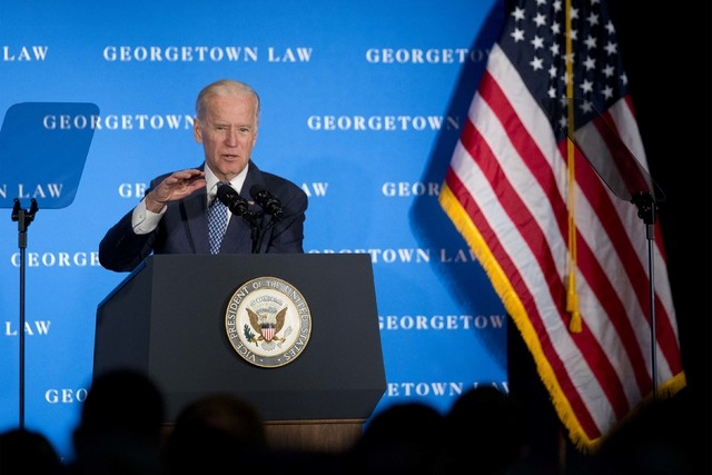 Vice President Joe Biden speaks at Georgetown Law School in Washington, Thursday, March 24, 2016.  (AP Photo/Manuel Balce Ceneta)