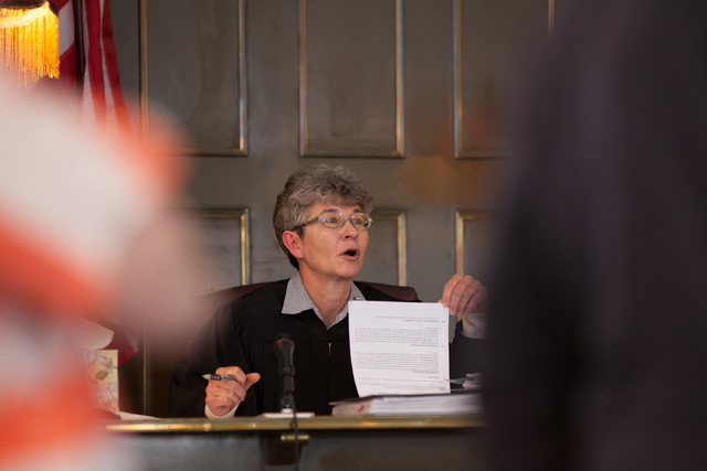 Kimberly Wanker, a traveling circuit judge, presides in Esmeralda County Fifth Judicial Court in Goldfield, Nev. on Tuesday March 1, 2016. The Esmeralda County Courthouse was built in 1907. Randi  ...