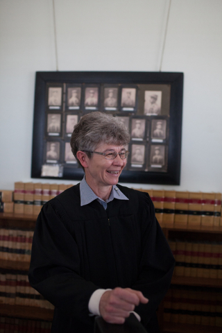 Kimberly Wanker, a traveling circuit judge, talks to a reporter in chambers at Esmeralda County Fifth Judicial Court in Goldfield, Nev. on Tuesday March 1, 2016. The Esmeralda County Courthouse wa ...