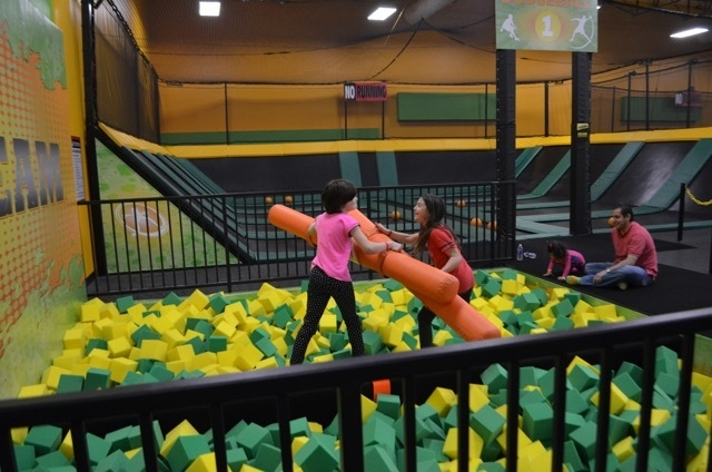 Visitors face off at the beam challenge at Rockin' Jump Las Vegas, a new indoor trampoline sports park at 7200 Montessouri St., Suite 160. Ginger Meurer/Special to View