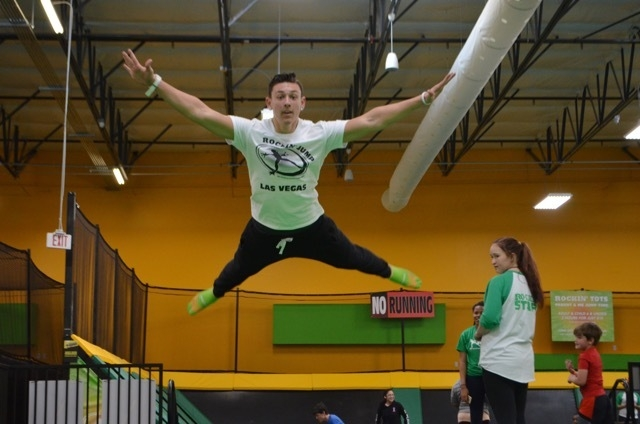 Employee Zachary Katzen leaps into the stunt bag at Rockin' Jump Las Vegas, a new indoor trampoline sports park at 7200 Montessouri St., Suite 160. Ginger Meurer/Special to View
