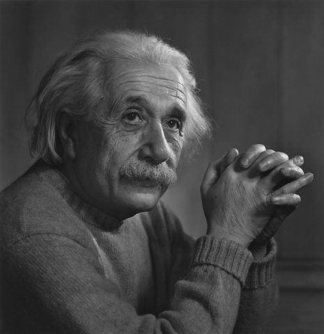 Albert Einstein, 1948, as photographed by Yousuf Karsh. (Courtesy/Bellagio Gallery of Fine Art)