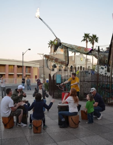 Children take part in a twilight drum circle at Downtown Container Park in this undated photo. Ginger Meurer/Special to View