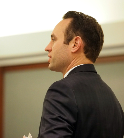 Attorney Warren Geller speaks on behalf of his client Jillian Lafave during a hearing in Lafave's case at the Regional Justice Center in Las Vegas on Wednesday, March 30, 2016. Lafave is accused o ...