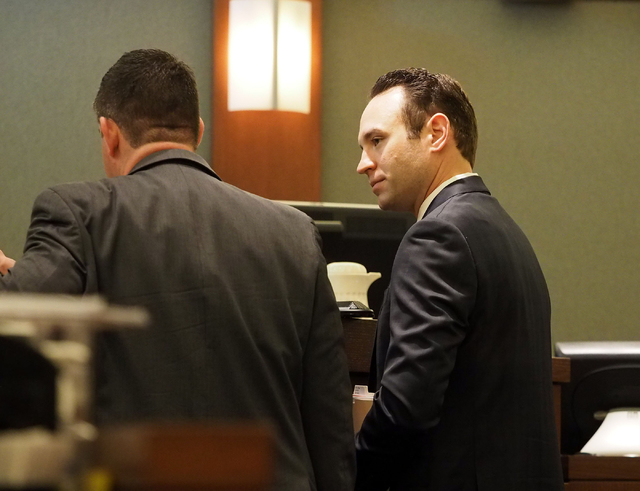 Attorney Warren Geller, right, speaks on behalf of his client Jillian Lafave during a hearing in Lafave's case at the Regional Justice Center in Las Vegas, Wednesday, March 30, 2016. (Jerry Henkel ...