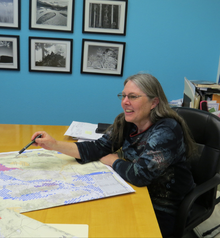 Shaaron Netherton, executive director of Friends of Nevada Wilderness, talks about a proposed Pershing County Lands Bill at her office in Sparks, Nev., on March 24, 2016. (Sandra Chereb/Las Vegas  ...