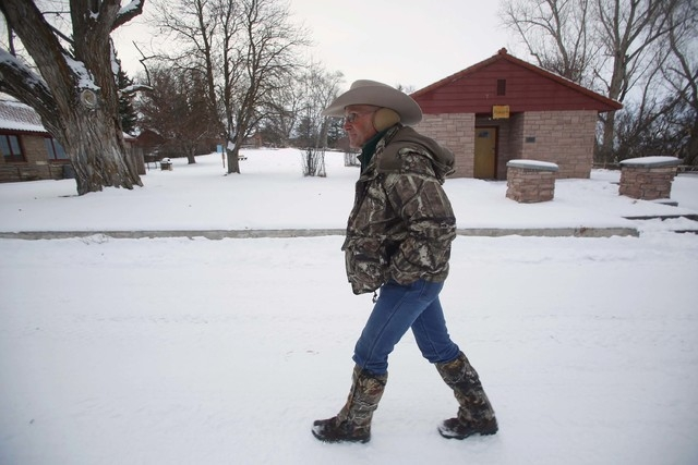 Arizona cattle rancher Robert 'LaVoy' Finicum leads a tour through the Malheur National Wildlife Refuge near Burns, Oregon, Jan. 3, 2016. Finicum was shot and killed Jan. 26 by Oregon State Police ...