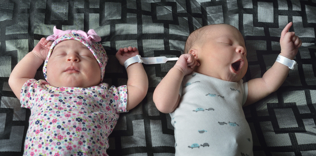 Leap Day twins Olivia Nicole Pea, left, and her brother Elijah Jordan Pea are shown at the home of their mother Amy Youdelis in North Las Vegas on Wednesday, March 2, 2016. The babies were born on ...