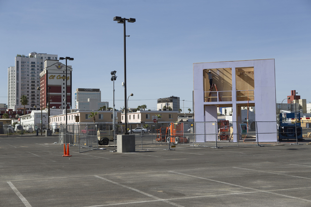 A structure under construction for the Life Cube Project is seen at the intersection of 9th Street and Fremont Street on Tuesday, March 15, 2016, in Las Vegas. Erik Verduzco/Las Vegas Review-Journ ...