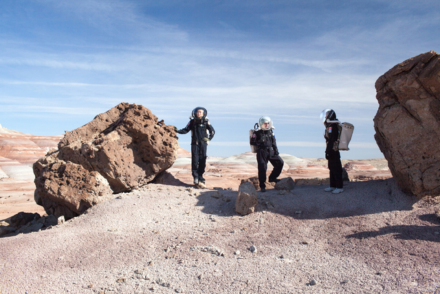 Crew members test agility in their suits at Captain Kirk Point at Mars Desert Research Station in the high desert of Eastern Utah Wednesday, March 16, 2016. Randi Lynn Beach/Las Vegas Review-Journal