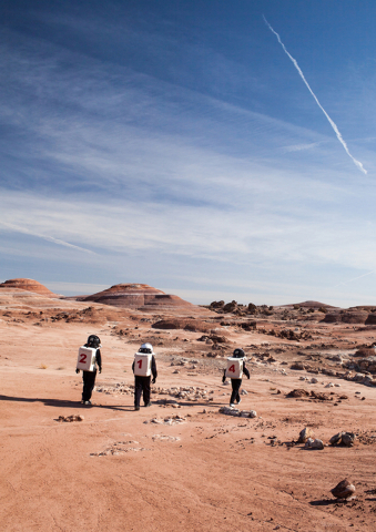Crew members test agility in their suits at Mars Desert Research Station in the high desert of Eastern Utah Wednesday, March 16, 2016. Randi Lynn Beach/Las Vegas Review-Journal