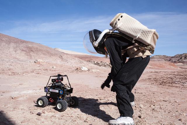 Pamela Nicoletatos works with the miniature Mars rover outside the Hab at Mars Desert Research Station in the high desert of Eastern Utah Wednesday, March 16, 2016. Randi Lynn Beach/Las Vegas Revi ...