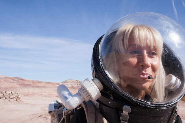 Pamela Nicoletatos, crew leader, tests out agility in her suit at Mars Desert Research Station in the high desert of Eastern Utah Wednesday, March 16, 2016. Randi Lynn Beach/Las Vegas Review-Journal