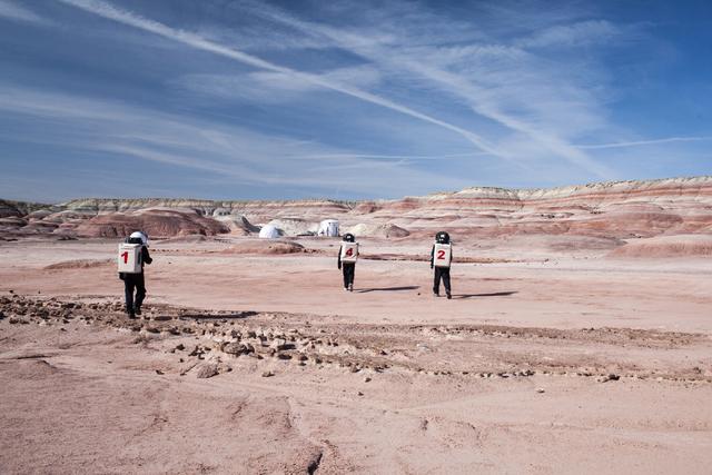 Crew members return to the Hab at Mars Desert Research Station in the high desert of Eastern Utah Wednesday, March 16, 2016. Randi Lynn Beach/Las Vegas Review-Journal