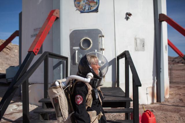 Pamela Nicoletatos, crew leader, exits the Hab at Mars Desert Research Station in the high desert of Eastern Utah Wednesday, March 16, 2016. Randi Lynn Beach/Las Vegas Review-Journal