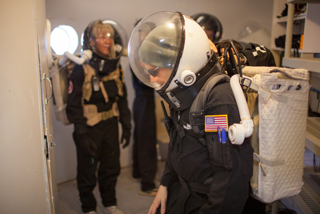 Ken Sullivan, executive officer, prepares to exit the Hab at Mars Desert Research Station in the high desert of Eastern Utah Wednesday, March 16, 2016. Randi Lynn Beach/Las Vegas Review-Journal
