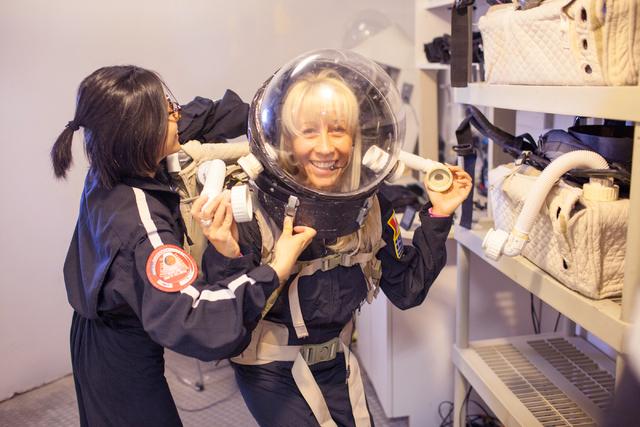 Crew commander Pamela Nicoletatos prepares to exit the Hab at Mars Desert Research Station in the high desert of Eastern Utah Wednesday, March 16, 2016. Randi Lynn Beach/Las Vegas Review-Journal