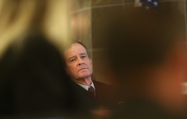 Judge Eric Johnson looks on during the trial of Jason Lofthouse at the Regional Justice Center in Las Vegas on Wednesday, March 23, 2016. (Chase Stevens/Las Vegas Review-Journal Follow @csstevensp ...