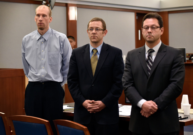 Jason Lofthouse, left, stands with his attorneys, Jason Margolis, center, and Dmitry Gurovich during jury selection at the Regional Justice Center Monday, March 21, 2016, in Las Vegas.  (David Bec ...