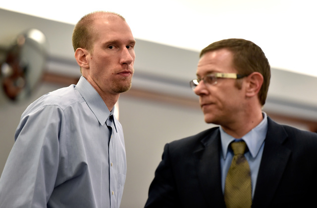 Jason Lofthouse, left, stands with his attorney, Jason Margolis, during jury selection at the Regional Justice Center Monday, March 21, 2016, in Las Vegas. (David Becker/Las Vegas Review-Journal F ...