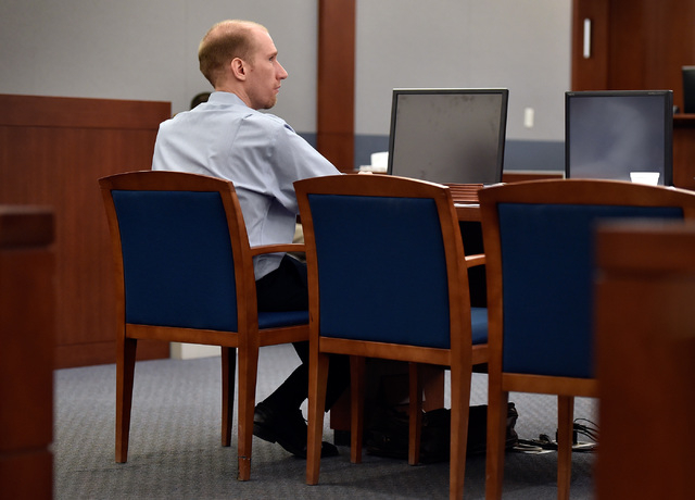 Jason Lofthouse sits at his defense table during jury selection at the Regional Justice Center Monday, March 21, 2016, in Las Vegas. The former Rancho High School teacher is accused of kidnapping  ...
