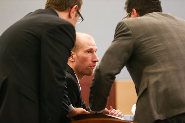 Jason Lofthouse talks with his defense lawyers Jason Margolis, left, and Dmitry Gurovich during his trial at the Regional Justice Center in Las Vegas on Tuesday, March 22, 2016. The former Rancho  ...