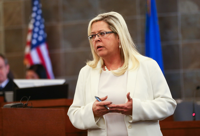 Prosecutor Stacy Kollins speaks during opening statements for the trial of Jason Lofthouse at the Regional Justice Center in Las Vegas on Tuesday, March 22, 2016. The former Rancho High School tea ...