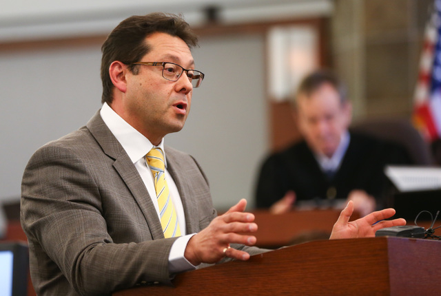 Defense lawyer Dmitry Gurovich speaks during opening statements for the trial of Jason Lofthouse at the Regional Justice Center in Las Vegas on Tuesday, March 22, 2016. The former Rancho High Scho ...