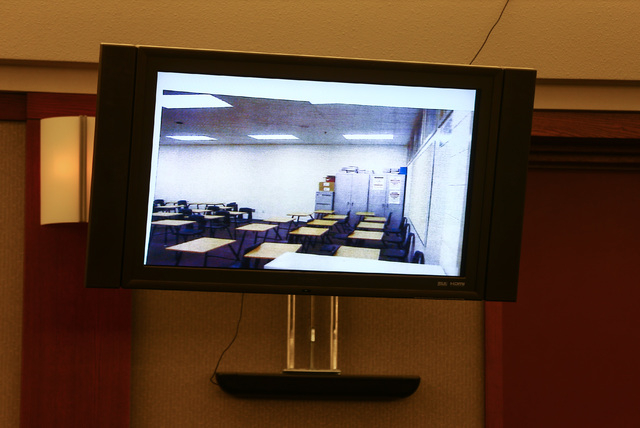 A photo of Jason Lofthouse's classroom is shown during his trial at the Regional Justice Center in Las Vegas on Tuesday, March 22, 2016. The former Rancho High School teacher faces charges of kidn ...