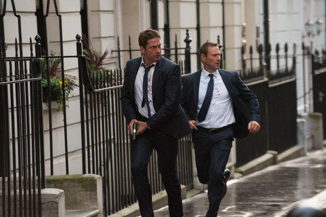 "Gerard Butler (left) stars as Mike Banning and Aaron Eckhart (right) stars as Benjamin Asher in ""London Has Fallen,"" a Gramercy Pictures release. (David Appleby/Gramercy Pictures)"