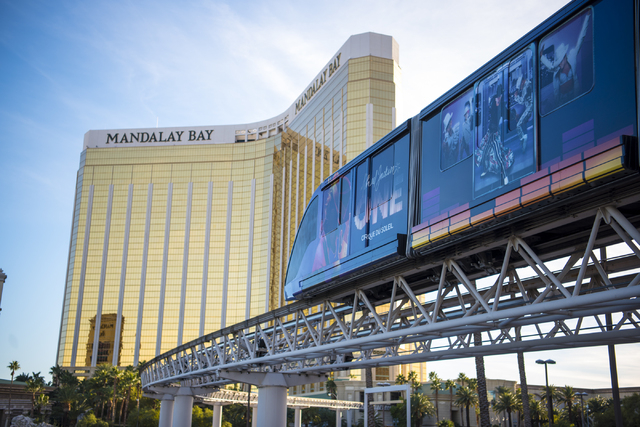 The Mandalay Bay to Excalibur monorail is shown on the west side of the Las Vegas Strip on Friday, Feb. 12, 2016. Joshua Dahl/Las Vegas Review-Journal
