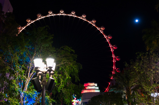 The High Roller is shown lit up as the colors of the flag of Belgium following the Brussels attacks at the Linq in Las Vegas on Tuesday, March 22, 2016. Chase Stevens/Las Vegas Review-Journal Foll ...