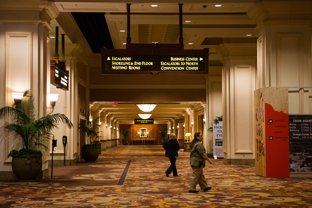 People walk around in the Mandalay Bay Convention Center in Las Vegas on Friday, Feb. 26, 2016. Chase Stevens/Las Vegas Review-Journal Follow @csstevensphoto