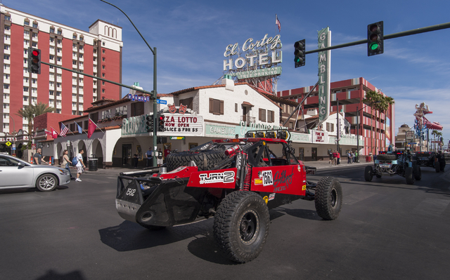 The Mint 400 Vehicle Procession rolls along East Fremont Street on March 9, 2016. Vehicles are arriving for the official kickoff of the annual Mint 400 off-road race, to be held March 12  in Primm ...
