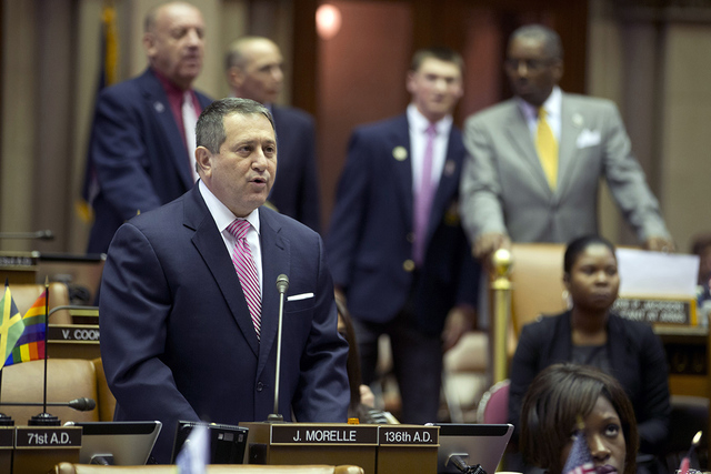 Assembly Majority Leader Joseph Morelle, D-Rochester, speaks on his mixed martial arts bill in the Assembly Chamber at the Capitol on Tuesday, March 22, 2016, in Albany, N.Y. New York is poised to ...
