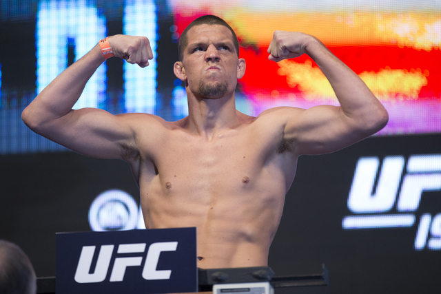 UFC fighter Nate Diaz poses during his weigh-in for UFC 196 at the MGM Grand Garden Arena on Friday, March 4, 2016, in Las Vegas. Diaz will fight against Conor McGregor Saturday in a title bout. E ...